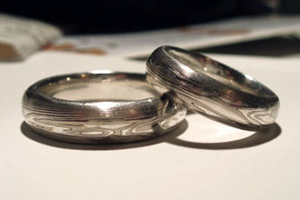 mokume gane wedding rings made by our customer