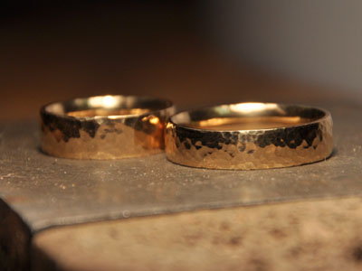 Hammered Gold Wedding Rings